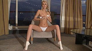 Skinny Sasha Blonde showing pussy Thumbnail