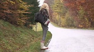 Young hitchhiker gets fucked in the wood Thumbnail