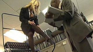 Busty blonde office girl gets fucked by black cock Thumbnail