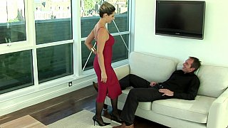 Lady in red sucking and fucking Thumbnail