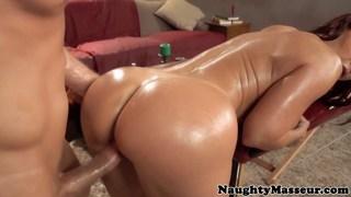 Redhead MILF Janet fucking her masseur Thumbnail