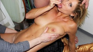 Horny young nude girl works two cocks Thumbnail