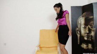Juicy latina Lexi hidding pantyhose in her muff Thumbnail
