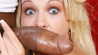 Horny blonde MILF takes big black cock in her tight pussy Thumbnail