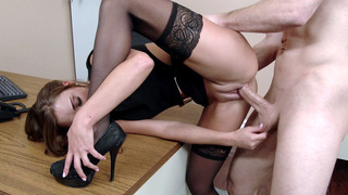Feisty secretary Marry Lynn has her boss fuck her in the office