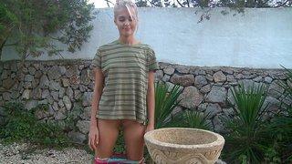 Young Sasha Blonde posing Thumbnail