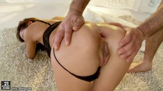 Petite Alice Romain gets assfucked hard on the carpet Thumbnail