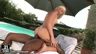 Laura King has sex with black man near pool Thumbnail