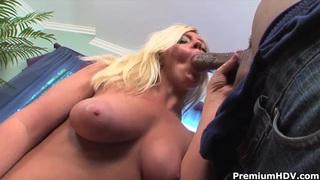 Big ass blonde Alex Love rides on fat black cock Thumbnail