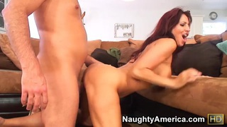 Bald fucker guy Peter Del Mar got his dick sucked great by sexy brunette chick Tara Holiday in her living room. Thumbnail
