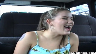 Amateur brunette Claire James gets naughty in car