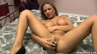 Busty blonde Steliana masturbates sucks stiff cock