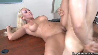 Busty blonde tattooed milf Serena and her student Thumbnail