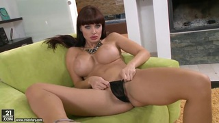 Busty brunette Aletta Ocean plays with her toys Thumbnail