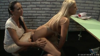 Mandy Bright teaches Barbie White how to behave Thumbnail