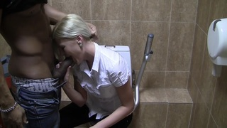Pamela in blonde having sex in restroom in stockings porn vid Thumbnail