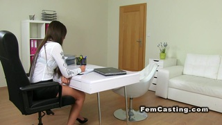 Female agent masturbates after sex in casting