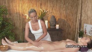 Beautiful brunette has lesbian massage Thumbnail