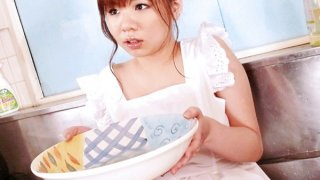 Aoi in the kitchen sink her big tits oiled up and squeezed before fucking a dick with her tits Thumbnail