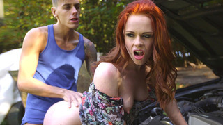 Ella Hughes bends over the car and takes his throbber in her ass Thumbnail