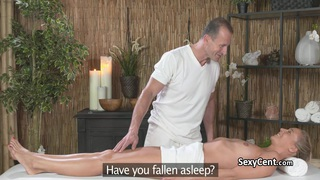 Blonde fucked and spunked on massage table Thumbnail