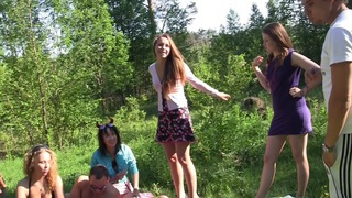 Albina & Ava & Taylor & Zoe in cute college girls making an outdoor party Thumbnail