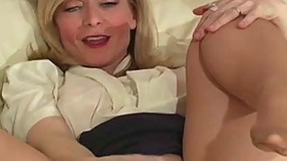 Solo girl fingers horny snatch through pantyhose Thumbnail