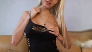 Busty blondie in sexy black lingerie teasing on cam Thumbnail