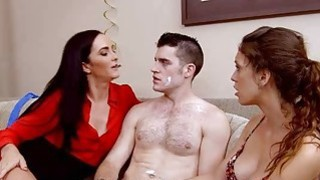 Surprise birthday turns into threesome action on sofa Thumbnail