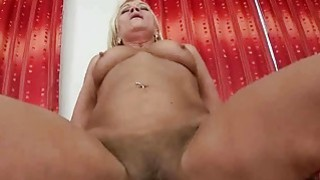 Old maid gives blowjob and gets fucked in POV