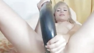 Hottie fucks pussy with long toy on webcam Thumbnail