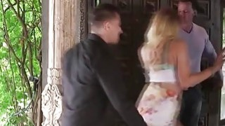 Horny blonde juggie fucks her husbands best friend