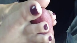 Chick jerks a cock with her feet until it cums Thumbnail