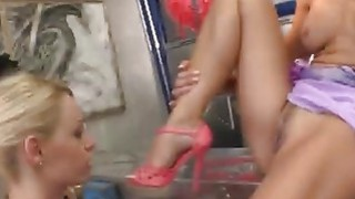 Two blonde teens naughty footjob is paid with rough anal sex