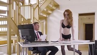 Gorgeous redhead secretary Ella Hughes seduces her boss Thumbnail