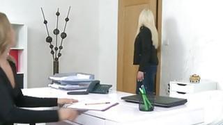 Blonde model finger fucks female agent Thumbnail