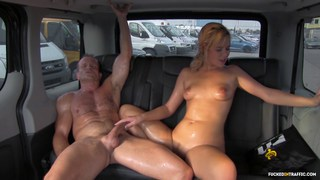 Nikki Dream covers the taxi with pussy juice and sweat Thumbnail