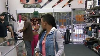 Perky tits ebony gives head and railed at the pawnshop