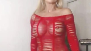 Blonde milf in sexy red lingerie Thumbnail