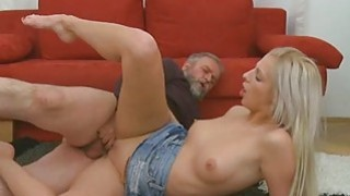 Young playgirl takes old ramrod in her mouth Thumbnail