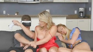 Virtual Reality fucking with MILF Cory Chase and  teen Avalon Heart Thumbnail
