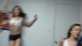 Tits out at this horny college teens dorm room party Thumbnail