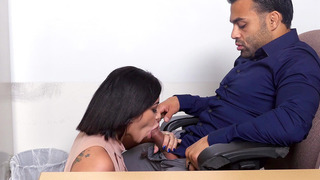 Kitty Caprice offers her boss a blowjob to keep her job