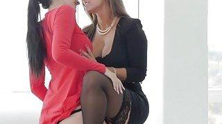 Slutty brunette lesbians licking cunts in orgy Thumbnail