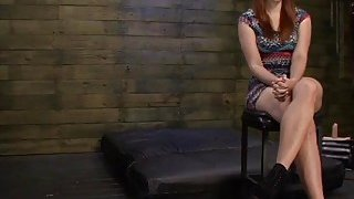 Busty redhead slut Rose Red with huge ass deepthroated and fucked rough Thumbnail