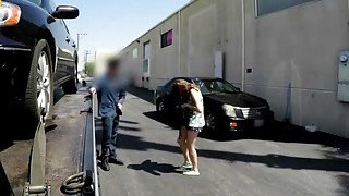 Hot red head will need to fuck the tow guy to get her car back