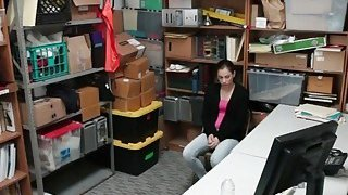 Skinny Thief Bobbi Dylan Takes Cock In Office
