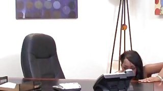 Busty chocolate babe blows long dong in office Thumbnail
