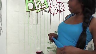 Ebony babe Brie gets filled with cock in glory hole Thumbnail