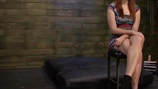 Busty redhead slut Rose Red deepthroated and fucked rough Thumbnail